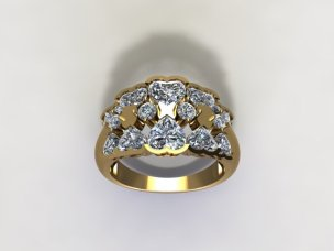 Golden heart ring